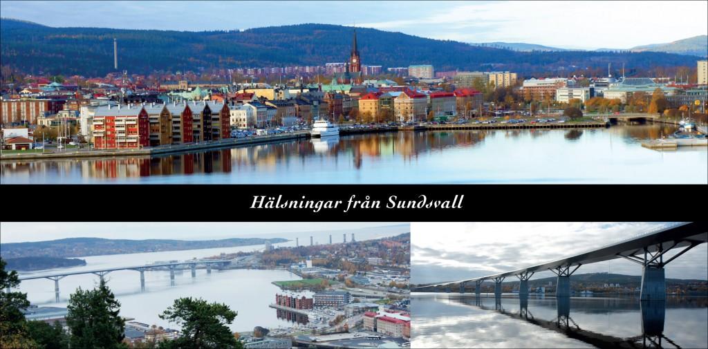Motiv över Sundsvalls centrum från Sundsvallsbron, samt två bilder på bron.